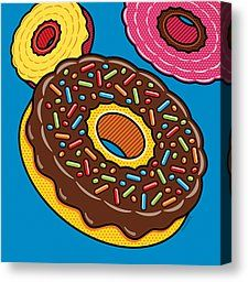 Canvas Prints - Doughnuts on Blue Canvas Print by Ron Magnes