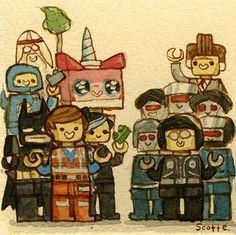 Lego Movie by Scott Campbell Lego Film, Lego Movie 2, Scott Campbell, Badass Movie, You Draw, Cartoon Shows, Animation Film, Character Illustration, Legos