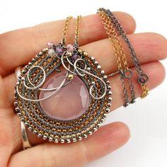 Wire wrap vermeil necklace gemstone necklace by MadeBySunflower