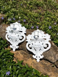 Vintage Pair of White Rose Sconces, Candleholders,  Shell Design, Wall Decor, Shabby Chic, French Country, Coastal, Cottage Decor