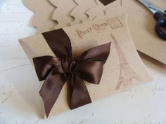 3 Luxury Kraft Pillow Box Paris Eiffel Tower Stamped Gift Box with Brown Ribbon