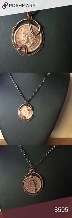 1839 U.S. Large Penny Copper Wrapped Pendant A2-36 This is an 1839 Large Penny that I hand wrapped with 100% Copper wire.  The coin's value range is $400-$525 and is considered to be in XF (extra fine) condition.  I made this about 2 years ago when I was taking a week long Jewelry making class for my wife.  Time to sell it. I will accept a reasonable offer. Handmade by HM Simon Jewelry Necklaces