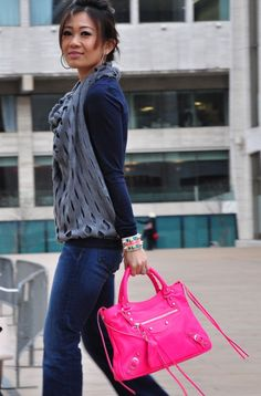 neon pink purse!! I need this :)