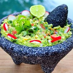 rawvana:  Holy Moly Guacamole this turned out so good!! Avocado, tomatoes, red onion, cilantro, jalapeño, radish, corn and lime! Part ...