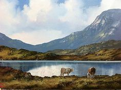 Cattle at Lake, Inagh Valley by Eileen Meagher Irish Art, Connemara, Belfast, Contemporary Paintings, Cattle, Dublin, Art Gallery, Culture, Gado Gado