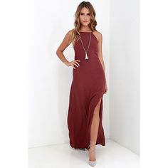 Gentle Fawn Courtyard Stroll Burgundy Maxi Dress ($66) ❤ liked on Polyvore featuring dresses, red, woven dress, white slit dress, white maxi dress, maxi dress and viscose dress
