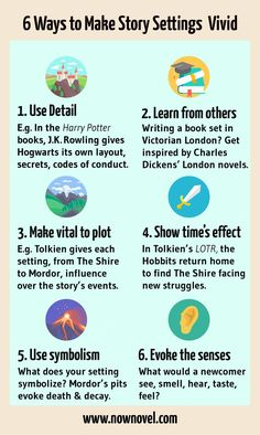 Infographic - story setting examples Now Novel. Writing Tips and Inspiration Book Writing Tips, English Writing Skills, Creative Writing Prompts, Writing Words, Fiction Writing, Writing Help, Creative Writing Examples, Writing A Novel, Creative Writing Inspiration