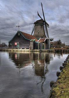 "Windmill ""De Bonte Hen"", Zaanse Schans, North Holland, Netherlands by Lumperjack Netherlands Windmills, Holland Windmills, Old Windmills, Holland Netherlands, Amsterdam Netherlands, Zaanse Schans Windmills, Water Tower, Le Moulin, Photos Du"