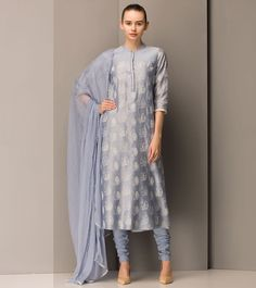 Am:Pm Powdered Blue Chanderi Silk Embroidered Churidar Suit