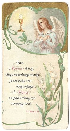 Art Nouveau Angel with Communion Chalice & Lily by 12StarsVintage