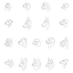 Dog Breeds - one line drawing Art Print by addillum - X-Small Tatoo Dog, Tatoo Henna, Dog Tattoos, Cute Tattoos, Small Tattoos, Sleeve Tattoos, One Line Tattoo, Line Art Tattoos, Body Art Tattoos