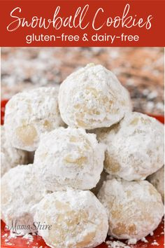 Gluten-Free Snowball Cookies (Dairy-Free) – MamaShire These classic gluten-free snowball cookies will add a beautiful festive touch to your holiday Christmas cookie platter. And they're dairy-free. Cookies Sans Gluten, Gluten Free Christmas Cookies, Dessert Sans Gluten, Dairy Free Cookies, Gluten Free Desserts, Chistmas Cookies, Gluten Free Christmas Recipes, Holiday Recipes, Best Gluten Free Recipes