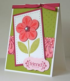 Flower punch, stamp set With All my heart. Colors are Kiwi Kiss, Rose red, pink pirouette, coral