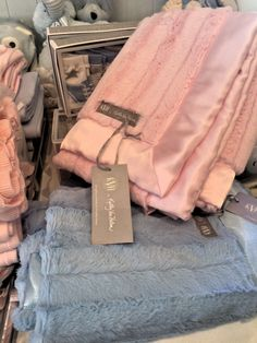 Spotted at Haven and Company in Brentwood, our baby blankets in pink and blue. KVH by Kelly Van Halen.