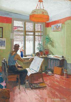 Попков Виктор Ефимович (Россия, 1932–1974) «Зимой в студии» Изобразительное искусство СССР. Интерьер в живописи... 5 - «Впечатления дороже знаний...»
