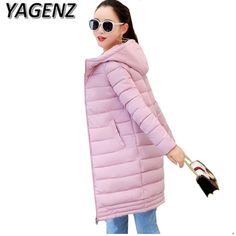 Winter women Jacket Coats 2018 Fashion Slim Medium long Down cotton Hooded Overcoat Thick Warm Jacket Student Coat Lady Clothing Free Shipping Brand Name:YAGENZ  #woman_clothes#Winter_clothes#down_jacket #Style #fashion #popular #beautifulr #Brand Name:YAGENZ