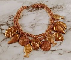 Nautical Mermaid CHUNKY Seashell Charms Gold Tn Runway Statement Chain Necklace #Chain