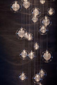 Orion 16Light LED Rectangular Floating Glass Ball Chandelier