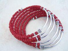 Red Lady, Coil Bracelet, Memory Wire Bracelet, Bohemian Style Cuff, Stack Bracelet, by Feralspassage