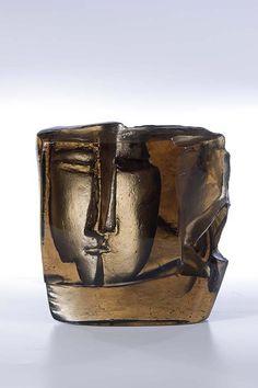 """** Stanislav Libenský (Czech, 1921-2002) and Jaroslava Brychtová (Czech, 1924-), Cast, Cut and Polished Glass Sculpture. """"The Kiss"""" 1959"""