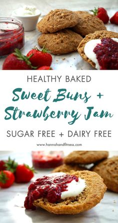 Healthy baked sweet buns with strawberry chia jam - sugar free, dairy free, quick and the perfect summer time treat!