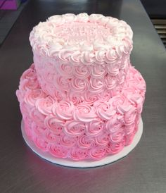 Pink Ombre Rosette tiered birthday cake. Wild Flour Bakery.