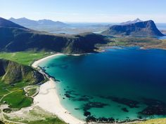 View over Haukelandstranden from Mannen, in Lofoten. Stavanger, Lofoten, Oslo, Caravan, Land Of Midnight Sun, Fjord, Camping, Beach Landscape, Seaside