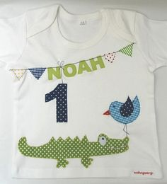 """no sew shirts Lovingly crafted summer fresh birthday shirt """"crocodile and sparrow"""" with wish name and wish number on a white kid's shirt. On the kid's shirt you can see the little crocodi Embroidery Patches, Diy Embroidery, Diy Birthday, Birthday Shirts, Sewing Shirts, Baby Sewing Projects, Baby Blog, Patch Quilt, Scrappy Quilts"""
