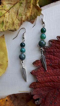 Handmade earrings with green agate.