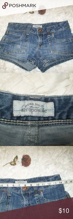 Aeropostale Blue Denim Shorts A87 Aeropostale Blue Denim Shorts A87 Very Short Size 5/6. Patch pockets in the front and classic pocket in the back. Item does have some wash wear to it. In good shape otherwise, no stains or rips. See pics for detail and measurements. Check out my store for more items. Will consider all offers. Aeropostale Shorts Jean Shorts