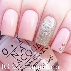 "Pink nails with glitter accent | OPI - ""bubble bath"" and ""my favorite ornament"""