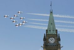 the snowbirds: fly past the parliament buildings