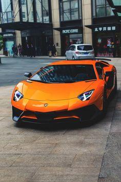 Orange Lamborghini Aventador SV