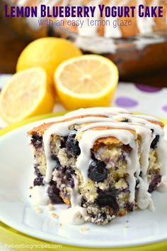 Lemon Blueberry Yogurt Cake w/ Lemon Glaze recipe is a fun way to have your cake and eat it too!