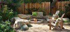 Backyard – fence – wood fence – fire pit – stone fire pit – stone bench – gravel patio – seating area