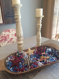 of July dough bowl decorations 4th July Crafts, Fourth Of July Decor, July 4th, Farmhouse Table Centerpieces, Summer Centerpieces, Farmhouse Decor, Wooden Dough Bowl, Wooden Bowls, Bread Bowls
