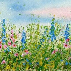 You can create a splattered paint flower garden. No drawing is needed just lots of spontaneous fun for all ages and skill levels.