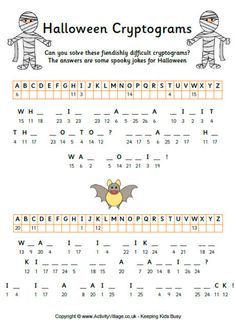 One of three printable Halloween cryptogram puzzles for kids. Solve the fiendishly difficult cryptogram to enjoy some Halloween jokes! Halloween Puzzles, Halloween Worksheets, Halloween Jokes, Halloween Activities, Holidays Halloween, Halloween Crafts, Halloween Party, Halloween 2020, Summer Activities