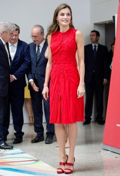 Queen Letizia Fabulously Repurposes the Dress She Wore to Meet Michelle Obama Last Summer from InStyle.com