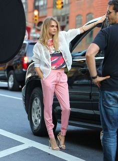 Cara Delevingne doing a photoshoot in SoHo, NYC. 04.09.14