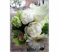 Peonies, callas, orchids, viburnum, dianthus, gerberas