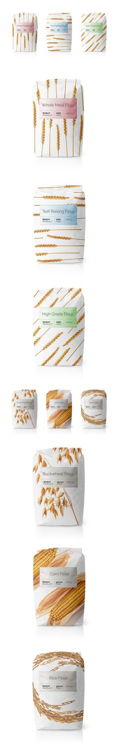 Flour GMO Free Whole Whet Products. Minimalistic graphics with simple label easing the variations of packaging.                                                                                                                                                                                 More