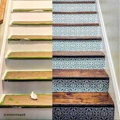 Our Augusta Tile stencil is a great choice for a trendy makeover! Based on traditional Portuguese Azulejos tile designs, this tile stencil is perfect for creating a gorgeous accent wall, kitchen tile backsplash, stenciled staircase, table top or floor! Cutting Edge Stencils, Diy Tuiles, Home Renovation Loan, Basement Renovations, Painted Staircases, Tiled Staircase, Flooring For Stairs, Basement Stairs, Tile On Stairs