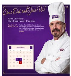 Join Purdys' Head Chocolatier Gary Mitchell for a master chocolate tasting session on either Tuesday, Dec 17 or Wednesday, Dec 18, 2013 on South Granville from 6:30-8pm. You will learn how to taste chocolate, all about scoring a chocolate sample, and take home a sweet treat courtesy of Purdys. Space is limited. Contact the Service Team at South Granville directly to book your space. Registration fee is $20. Purdys Chocolatier, 2705 Granville St, Vancouver, BC, V6H 3J1, 604-732-7003.