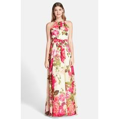 """Eliza J Embellished Floral Chiffon Maxi Dress Big, rosy flowers inject springtime cheer into the glamorous silhouette of this flowy chiffon gown. The pleated, embellished neckline and tied waist add modern definition. 62"""" length (size 8). Hidden side-zip closure. Fully lined. 100% polyester. Dry clean. By Eliza J; imported. Special Occasion. Eliza J Dresses Maxi"""