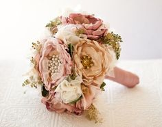 Fabric Flower Bouquet, Wedding silk flower bouquet with rhinestone and pearl brooches, blush, gold, sage green, dusty pink, spring wedding