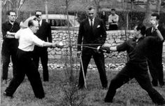 One of the last recorded duels. Picture of the famous epee duel between Serge Lifar & the Marquis de Cuevas. (A duel didn't end until blood was drawn or someone died! It was outlawed in many countries for decades, if not centuries.)