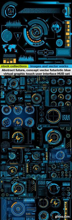 Abstract future, concept vector futuristic blue virtual graphic touch user interface HUD set, 20 x EPS. If you like UX, design, or design thinking, check out theuxblog.com podcast https://itunes.apple.com/us/podcast/ux-blog-user-experience-design/id1127946001?mt=2