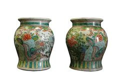 Pair Chinese Multi-color Round Porcelain Stand Display - Golden Lotus Antiques goldenlotusinc@yahoo.com 650-522-9888 #thanksgiving #gift #homedecor