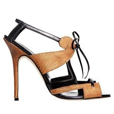 Manolo Blahnik Heels....gorgeous ! Would love to own these !  Love the tan and black mix !!! and the textured leather